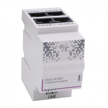 Legrand - Filtre ADSL/répartiteur téléphonique analogique 3 + 1 sortie - 2 modules - Réf : 413015