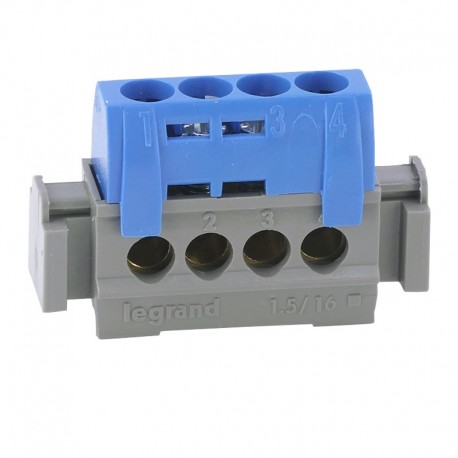Legrand - Bornier de répartition isolé IP2X neutre - 4 connexions 1,5mm² à 16mm² - bleu - longueur 75mm - Réf : 004840