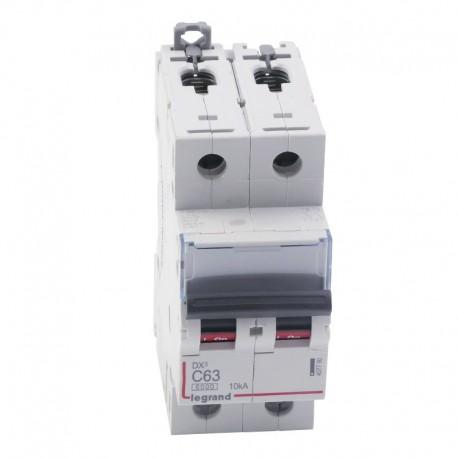Legrand - Disjoncteur DX³6000 10kA - vis/vis - 2P 230V~ à 400V~ - 63A - courbe C - 2 modules - Réf : 407790