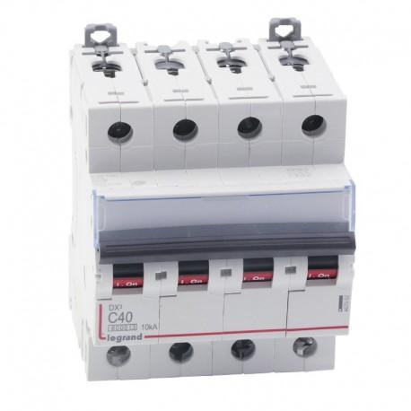 Legrand - Disjoncteur DX³ 6000 -vis/vis- 4P- 400V~-40A-courbeC-peigne HX³ trad 4P - 4M - Réf : 407902