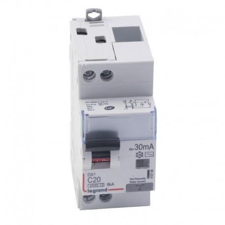 Legrand - Disjoncteur différentiel DX³4500 - vis/vis - U+N 230V~ - 20A typeAC 30mA - courbe C - 2 modules - Réf : 410706