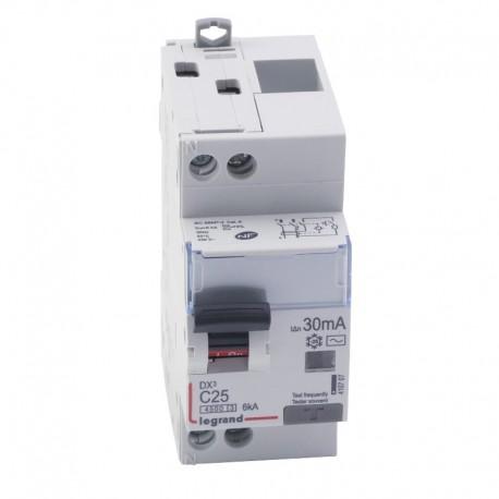 Legrand - Disjoncteur différentiel DX³4500 - vis/vis - U+N 230V~ - 25A typeAC 30mA - courbe C - 2 modules - Réf : 410707