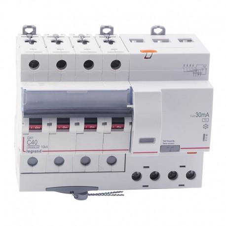 Legrand - Disjoncteur diff DX³ 6000 - vis/vis - 4P 400V~ - 40A - type AC 30mA - courbe C - 7 mod - Réf : 411190