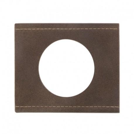Legrand - Plaque Céliane - Matières - 1 poste - Cuir Brun Texturé - Réf : 069401