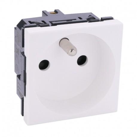 Legrand - Prise de courant Mosaic - 2P+T - spécial repiquage et 4 mm² - 2 modules - blanc - Réf : 099640