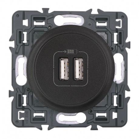 Legrand - Prise double chargeur USB - Ensemble Graphite à composer - Réf : 099543