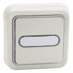 Legrand - Poussoir inverseur NO+NF lumineux avec porte-étiquette Plexo complet IP55 encastré 10A - blanc - Réf : 069864