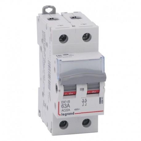 Legrand - Interrupteur-sectionneur DX³-IS - 2P 400 V~ - 63 A - 2 modules - Réf : 406441