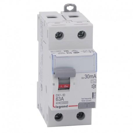 Legrand - Inter diff DX³-ID - vis/vis - 2P- 230V~ - 63A - type AC - 30mA - départ bas - 2M - Réf : 411506
