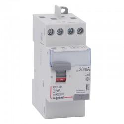 Legrand - Inter diff DX³-ID - vis/vis - 2P- 230V~ - 25 A - type AC - 30mA - départ haut - 2M - Réf : 411610