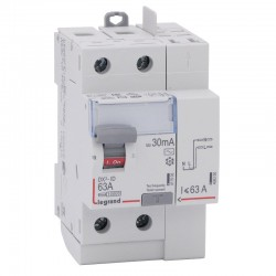 Legrand - Inter diff DX³-ID - vis/auto - 2P - 230V~ - 63A - type AC - 30mA - départ haut - 3M - Réf : 411633