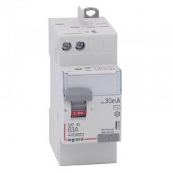 Legrand - Inter diff DX³-ID - vis/auto - 2P - 230V~ - 63A - type AC - 30mA - départ haut - 2 M - Réf : 411650