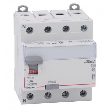 Legrand - Inter diff DX³-ID - vis/vis - 4P - 400V~ - 40A - type AC - 30mA - départ bas - 4M - Réf : 411661