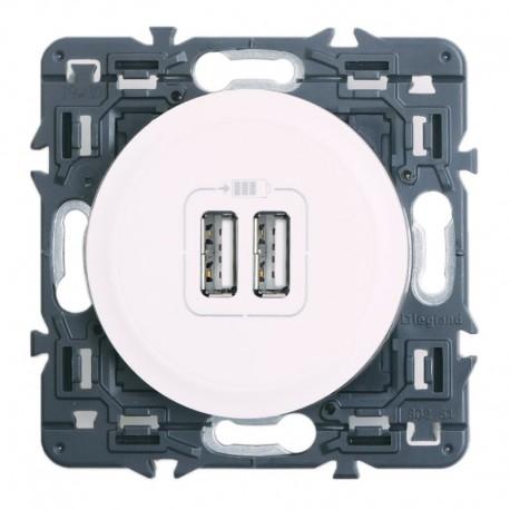 Legrand Céliane - Prise double chargeur USB - Ensemble Blanc à composer - Réf : 099736