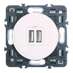 Legrand Céliane - Prise double chargeur USB - Ensemble Blanc à Griffes - à composer - Réf : 099736G