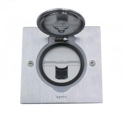 Legrand - Prise de sol simple RJ45 catégorie6 FTP avec platine carrée - inox brossé - Réf : 089761