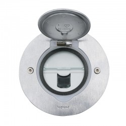 Legrand - Prise de sol simple RJ45 catégorie6 FTP avec platine ronde - inox brossé - Réf : 089771