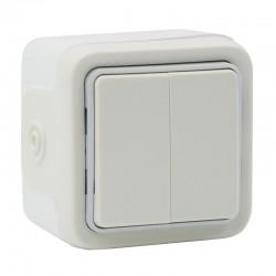 Legrand - Double interrupteur ou va-et-vient Plexo apparent - Blanc - Réf : 069916
