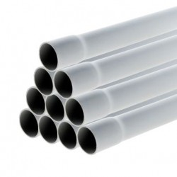 Schneider - Conduit rigide tulipé PVC -⌀ 16 mm - 30 m (10 tubes de 3m) - Gris - Réf : IMT40616