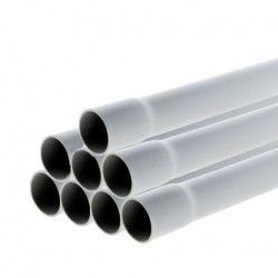 Schneider - Conduit rigide tulipé PVC -⌀ 25mm - 24 m (8 tubes de 3m) - Gris- Réf : IMT40625