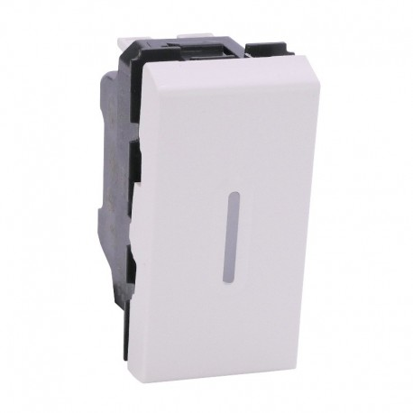 Legrand -Interrupteur ou va et vient à voyant (non fourni) Mosaic - 10 AX - 1 module - blanc - Réf: 077002