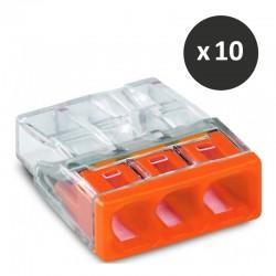 Wago - Bornes pour boîtes de dérivation COMPACT, 3 conducteurs - Réf : 2273-203(10)