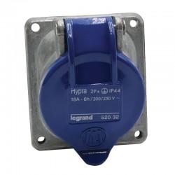 Legrand - Prise fixe Hypra IP44 16A - 200V~ à 250V~ - 2P+T - métal - Réf : 052032
