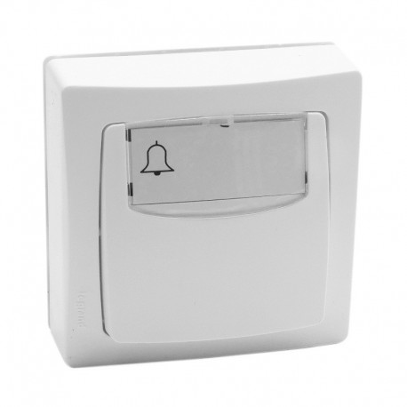 Legrand - Poussoir porte-étiquette Appareillage saillie complet 6A - blanc - Réf: 08600