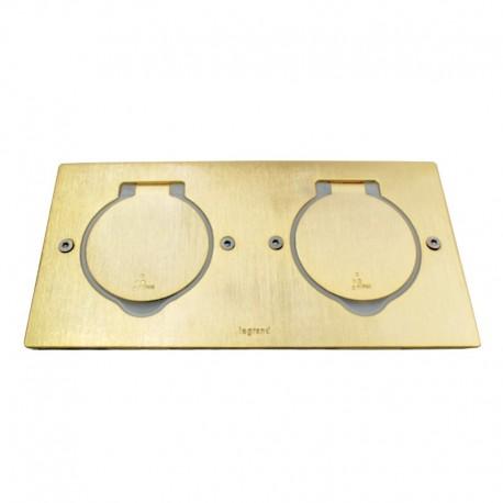 Legrand - Platine de sol rectangulaire à équiper de mécanismes Mosaic 2 postes – doré brossé - Réf : 08971
