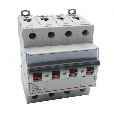 Legrand - Disjoncteur DX³ 6000 -vis/vis- 4P- 400V~-25A-courbeC-peigne HX³ trad 4P - 4M - Réf : 407900