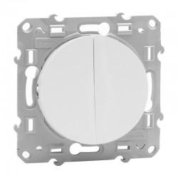 Schneider Odace - Double Interrupteur Va et Vient - Blanc - Réf : S520214