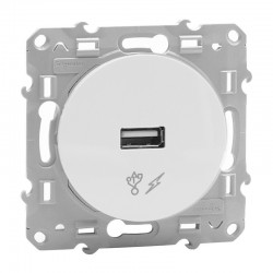 Schneider Odace - Chargeur USB - Blanc - Réf : S520408