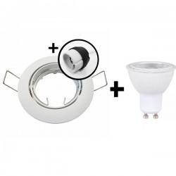 KIT Spot encastré - orientable - 3000k - rond - blanc - LED 5W - Réf : KRI30022