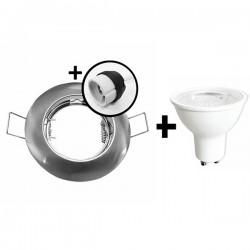 KIT Spot encastré - fixe - 3000k - rond - aluminium - LED 5W - Réf : KRI30031