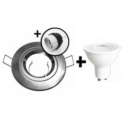 KIT Spot encastré - 1/4 tour - 3000k - IP20 - fixe - aluminium- LED 5W - Réf : KRI30033