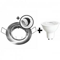 KIT Spot encastré - orientable - 3000k - rond - aluminium - LED 5W - Réf : KRI30032
