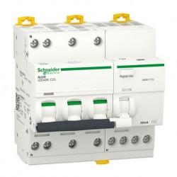 Schneider - Acti9 iDD40K - disjoncteur différentiel - 3P+N C 25A 4500A/4,5A 30mA type AC - Réf : A9DK1725